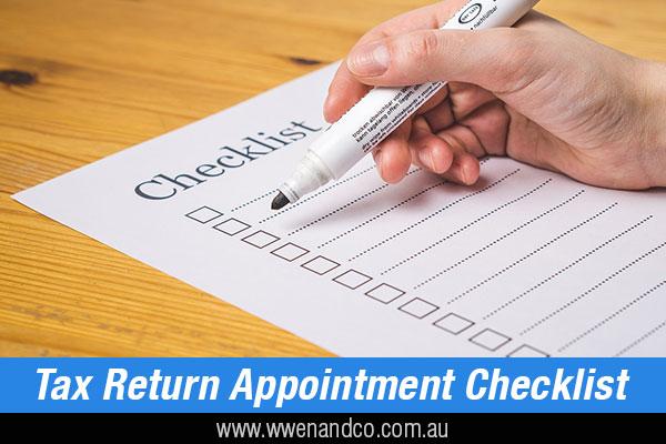 tax return appointment checklist